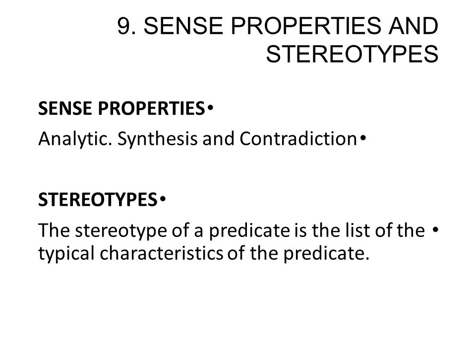 sense of properties and stereotypes - ppt download