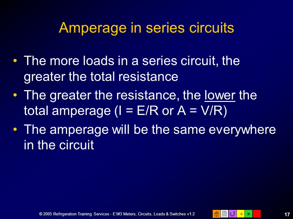 Amperage in series circuits