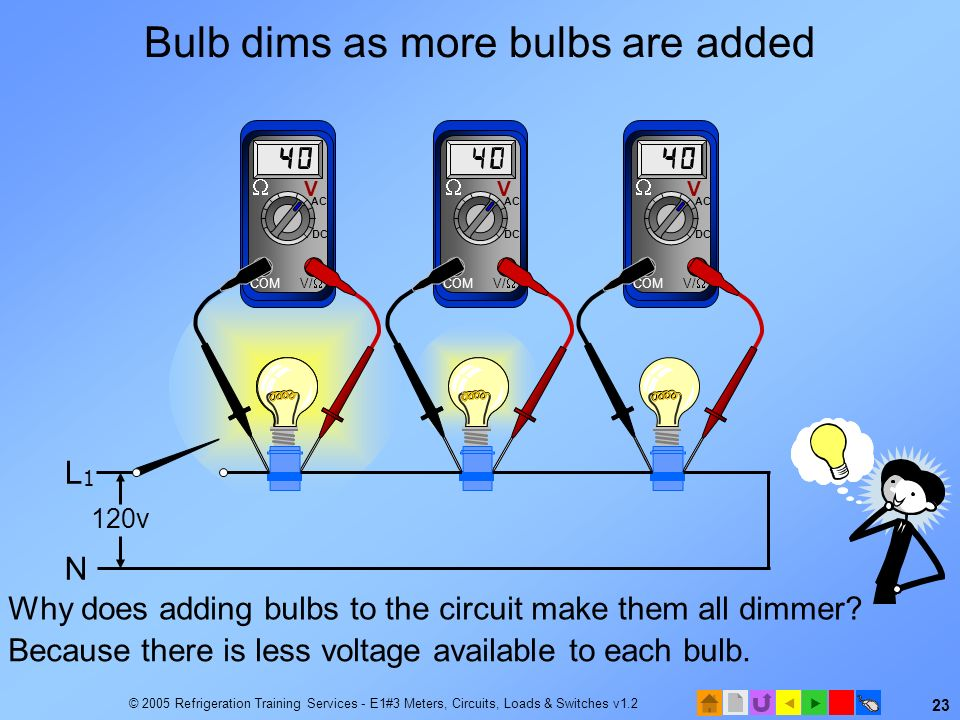 Bulb dims as more bulbs are added