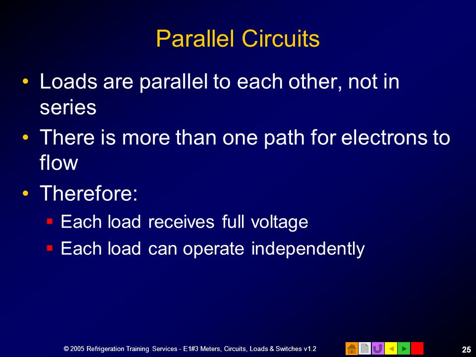 Parallel Circuits Loads are parallel to each other, not in series