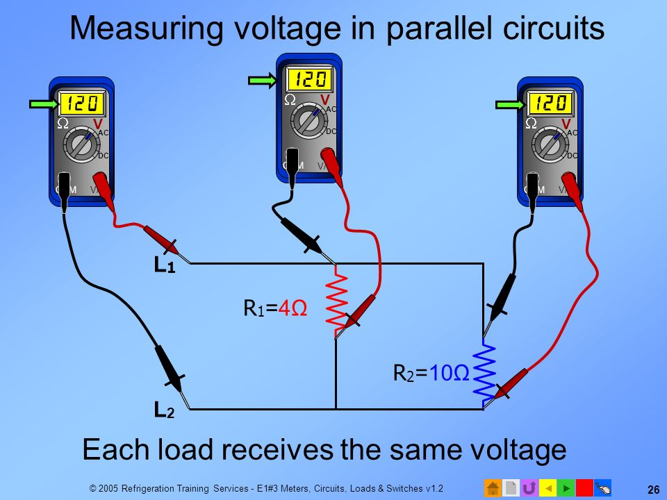 Measuring voltage in parallel circuits