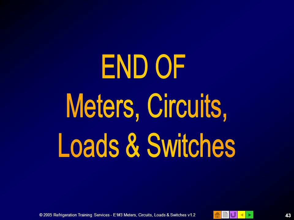 END OF Meters, Circuits, Loads & Switches