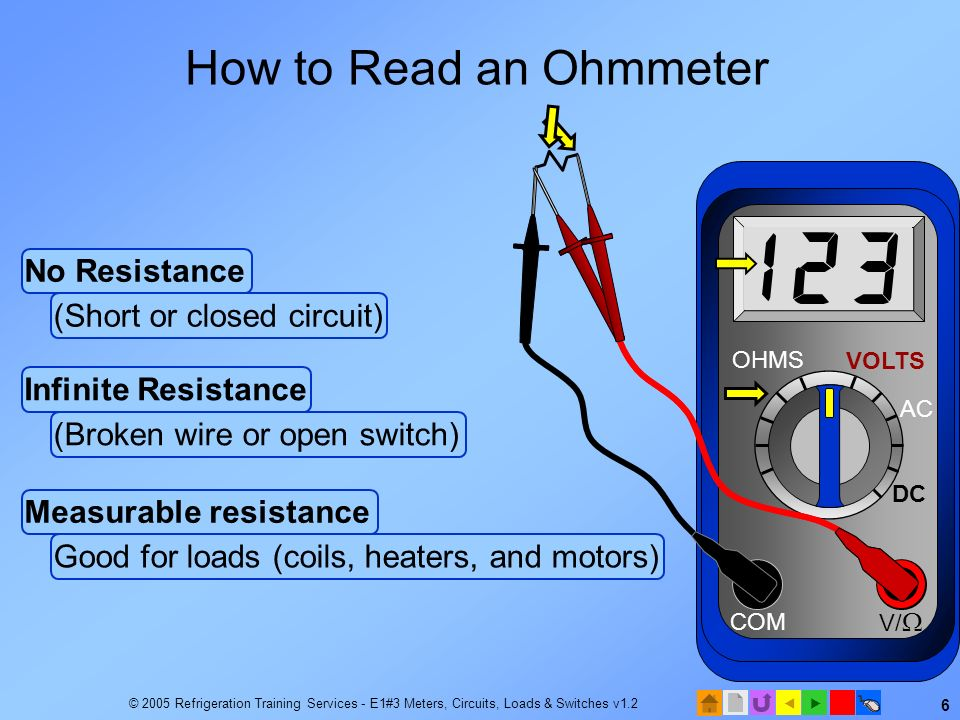 How to Read an Ohmmeter No Resistance (Short or closed circuit)
