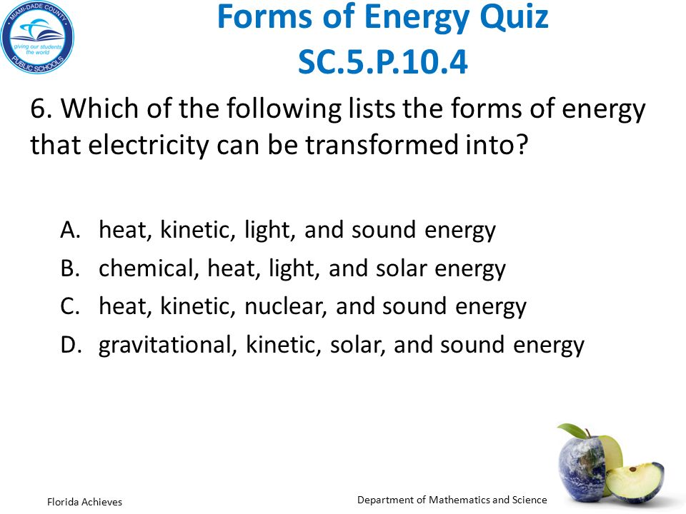 Energy Quiz Worksheet - Kidz Activities