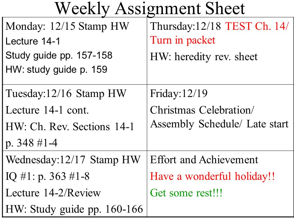 Weekly Assignment Sheet Ppt Download