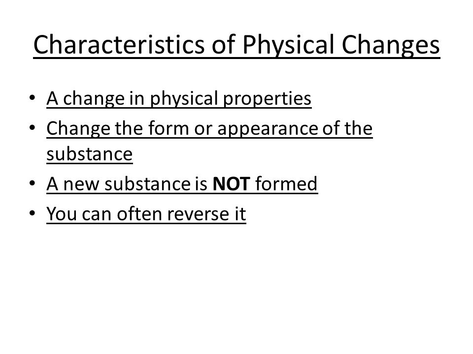 properties of physical change