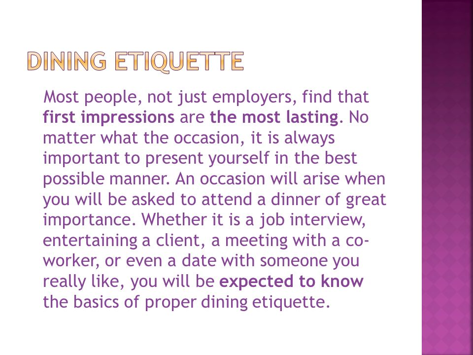 Dining Etiquette Ppt