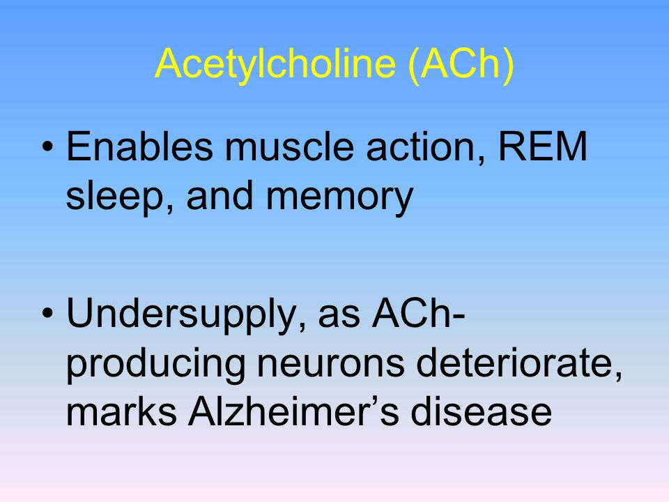 Acetylcholine (ACh) Enables muscle action, REM sleep, and memory.