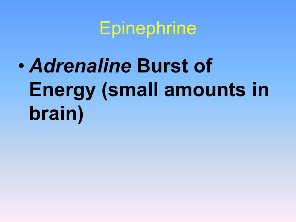 Adrenaline Burst of Energy (small amounts in brain)