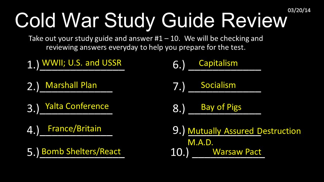 cold war study guide review ppt download rh slideplayer com the early cold war apush review guide answers cold war review guide answers