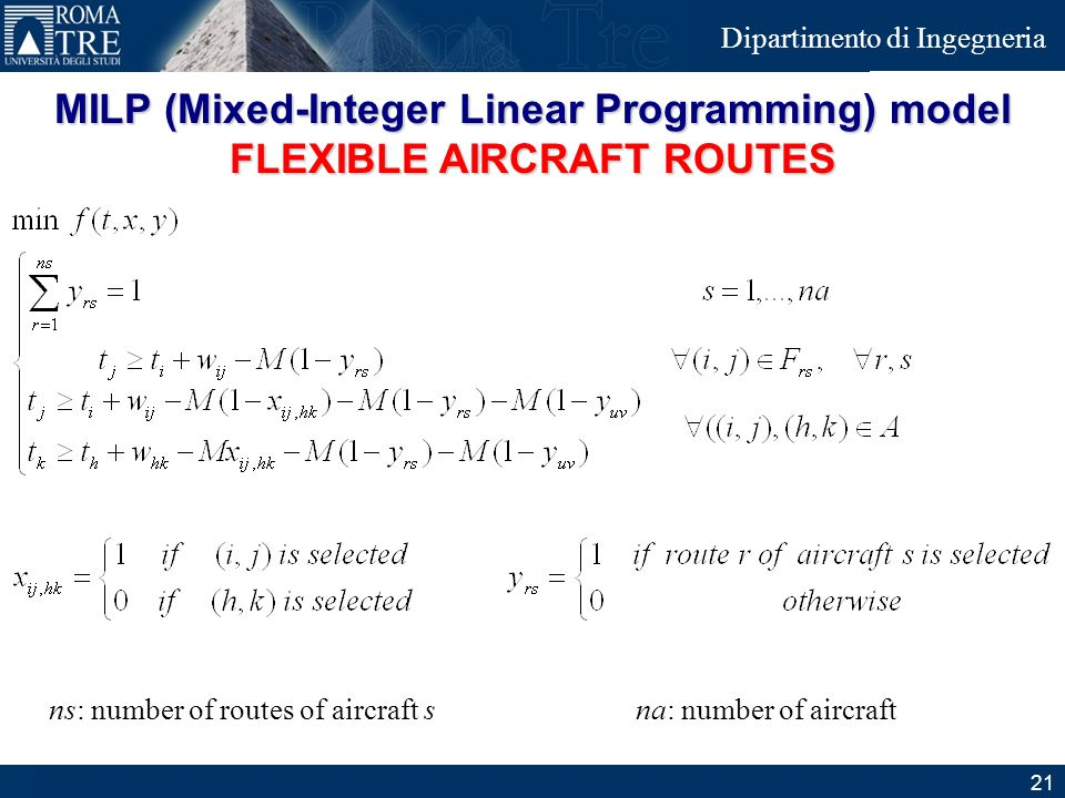 MILP (Mixed-Integer Linear Programming) model FLEXIBLE AIRCRAFT ROUTES