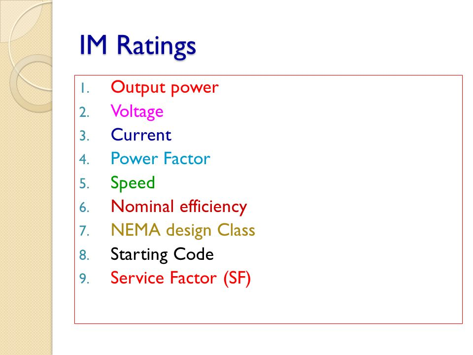 IM Ratings Output power Voltage Current Power Factor Speed