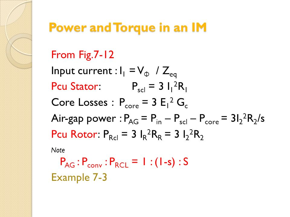 Power and Torque in an IM