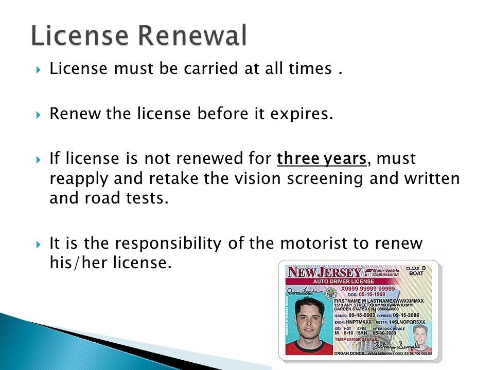 how to renew nj drivers license