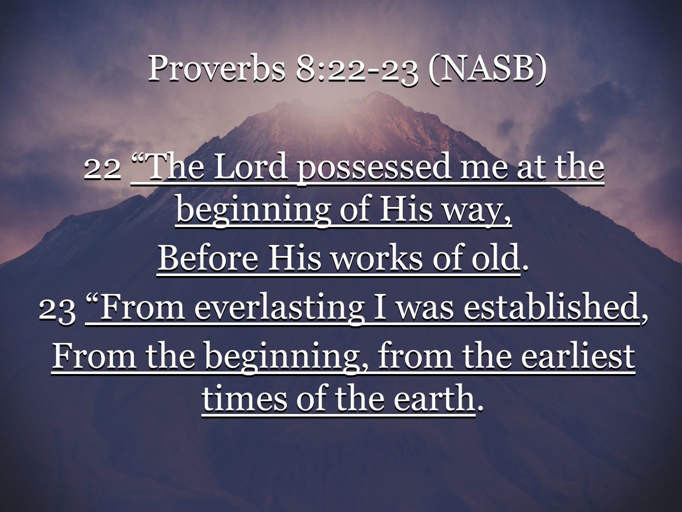 Image result for PROVERBS 8:22-23