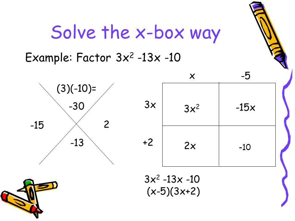 Factoring Quadratics using X-Box method and Factor by ...