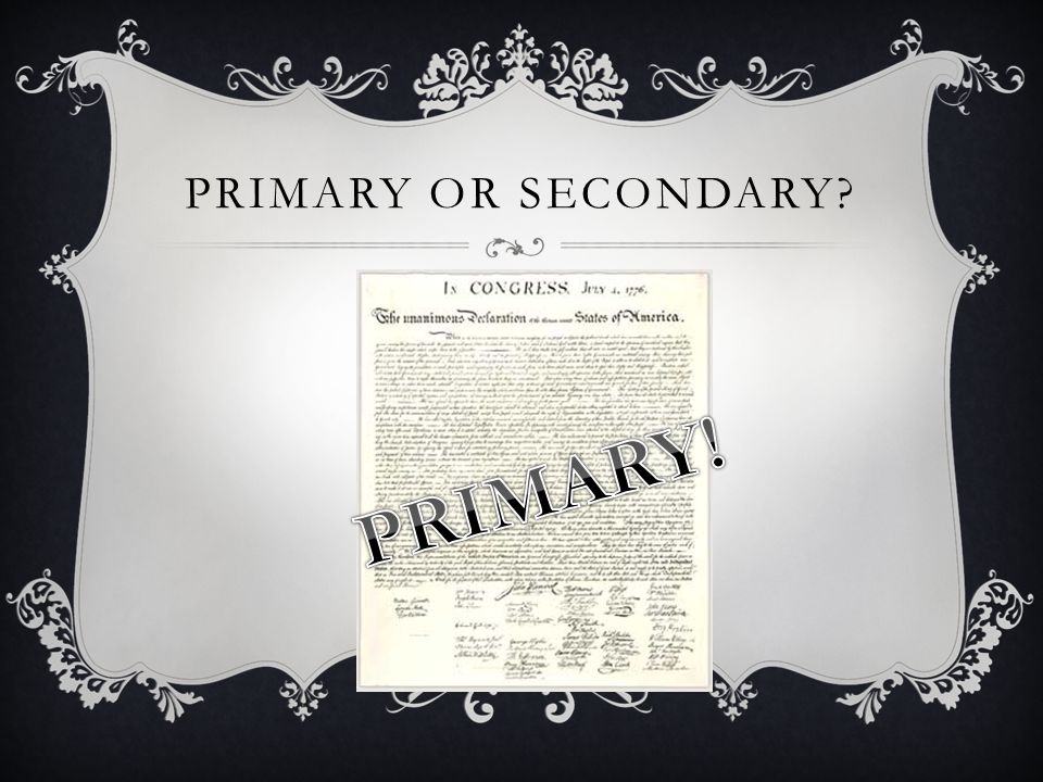 Primary or secondary PRIMARY!