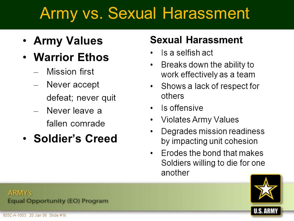 Cbrn army definition of sexual harassment