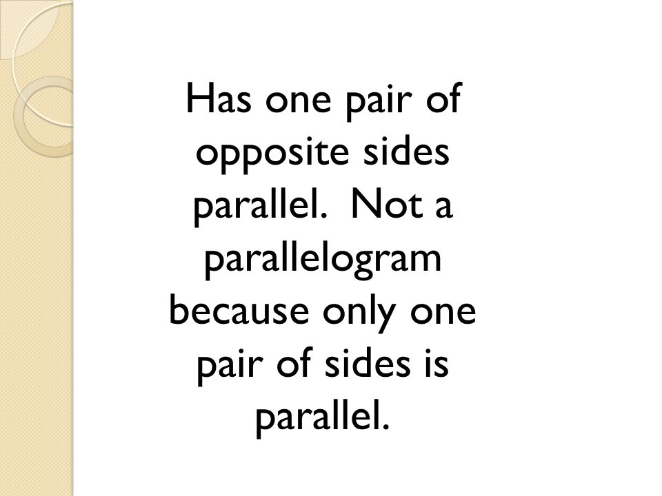 Has one pair of opposite sides parallel