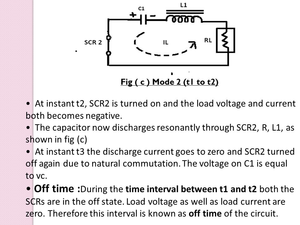 Fig ( c ) Mode 2 (t1 to t2) At instant t2, SCR2 is turned on and the load voltage and current both becomes negative.