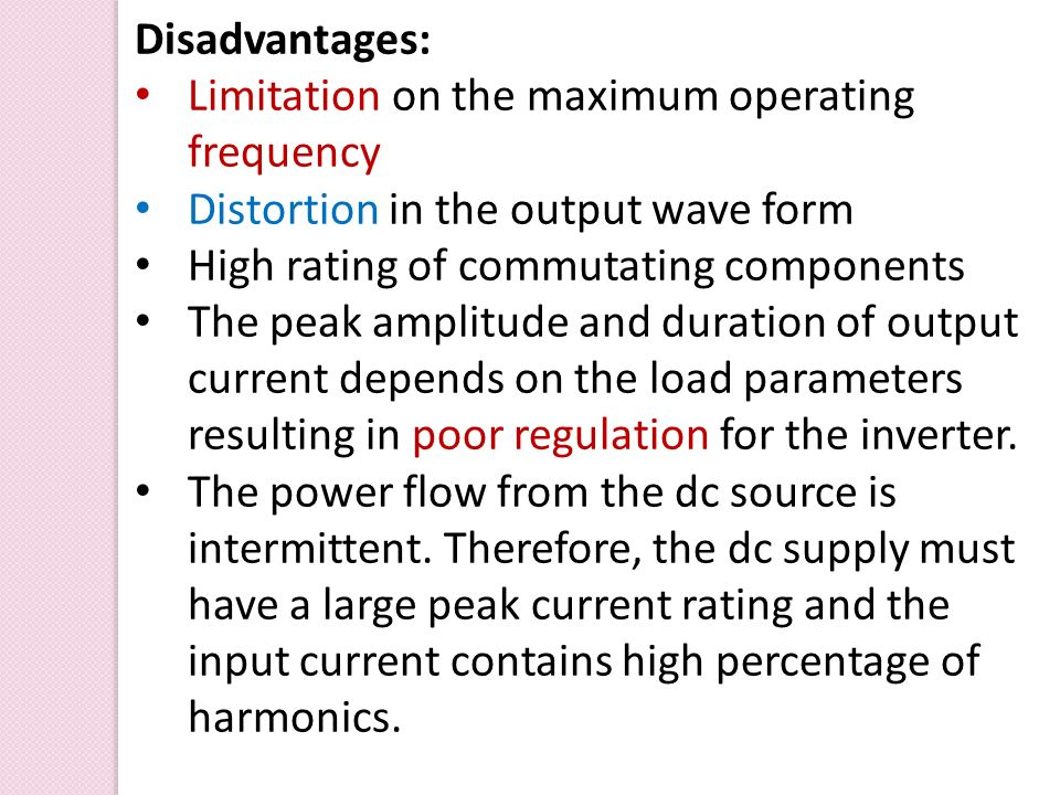 Limitation on the maximum operating frequency