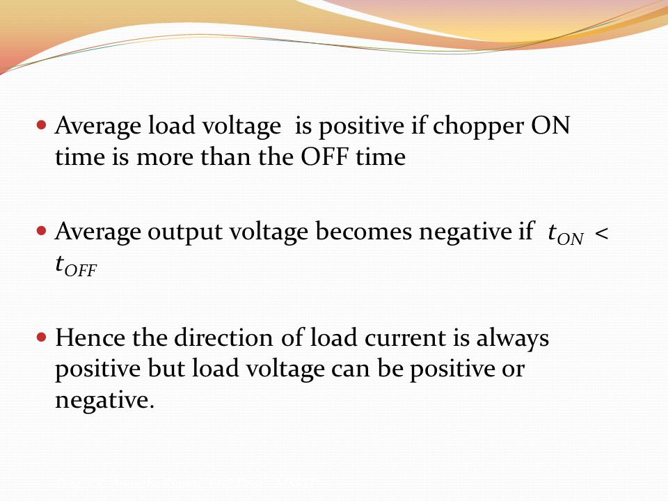 Average output voltage becomes negative if tON < tOFF