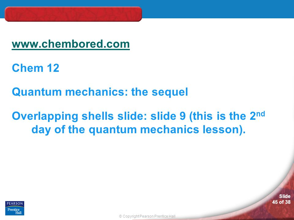 Chem 12 Quantum mechanics: the sequel Overlapping shells slide: slide 9 (this is the 2nd day of the quantum mechanics lesson).