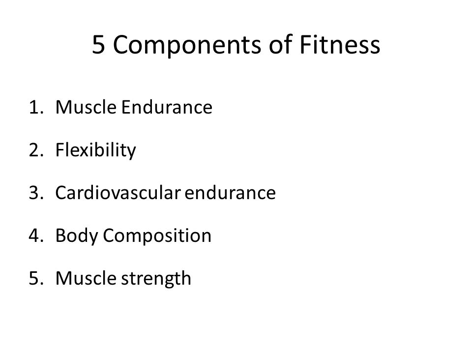 5 Components Of Fitness Muscle Endurance Flexibility