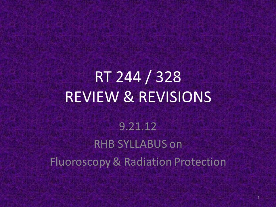 RHB SYLLABUS on Fluoroscopy & Radiation Protection