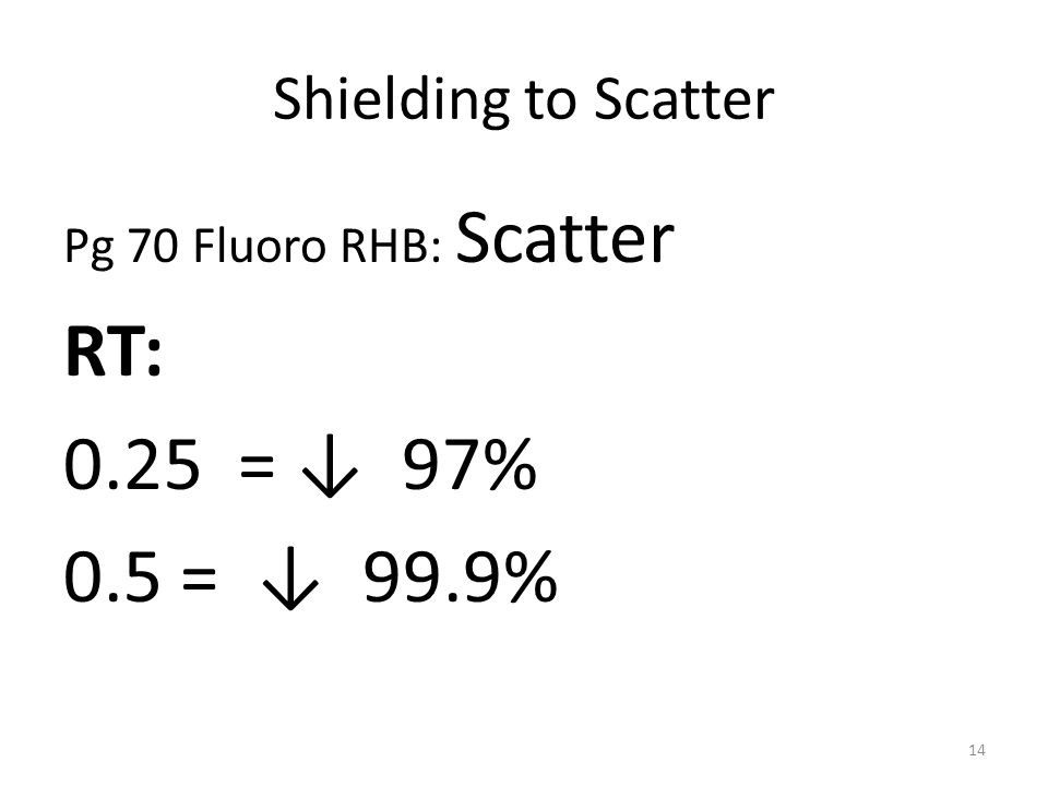 RT: 0.25 = ↓ 97% 0.5 = ↓ 99.9% Shielding to Scatter