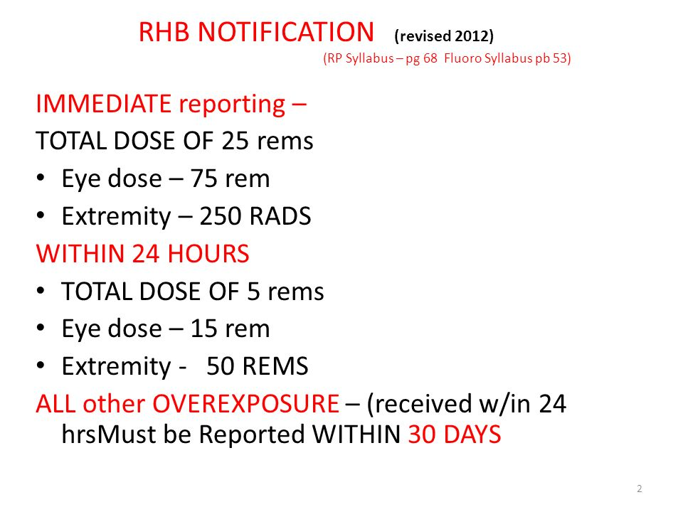 RHB NOTIFICATION (revised 2012) (RP Syllabus – pg 68 Fluoro Syllabus pb 53)