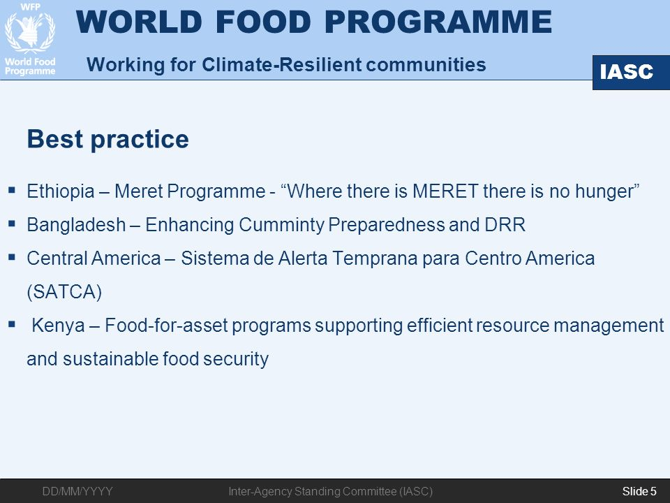 WORLD FOOD PROGRAMME Working for Climate-Resilient communities