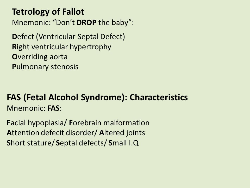 Tetrology Of Fallot Mnemonic Dont DROP The Baby