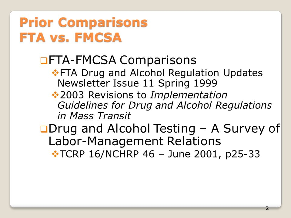 fta vs fmcsa drug alcohol testing a regulatory comparison ppt