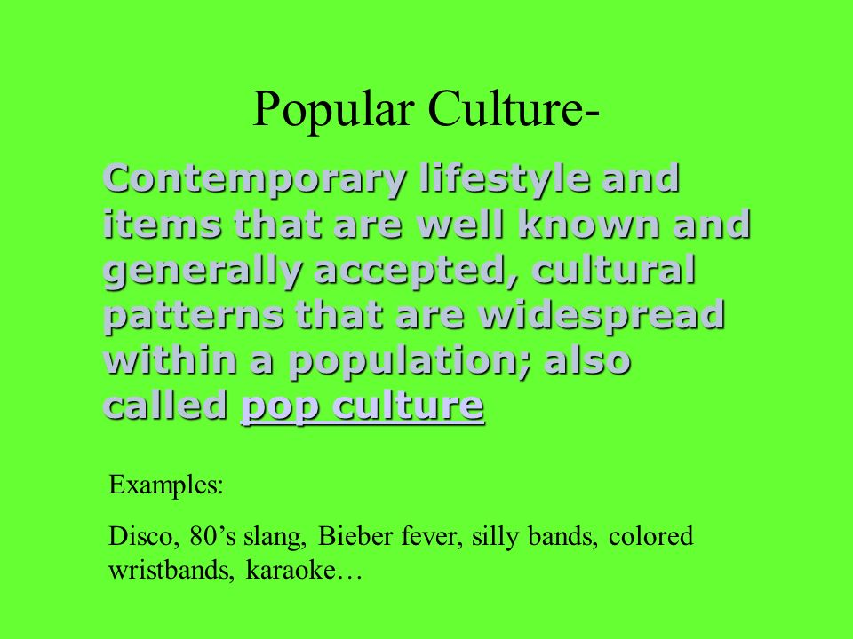 what is pop culture examples
