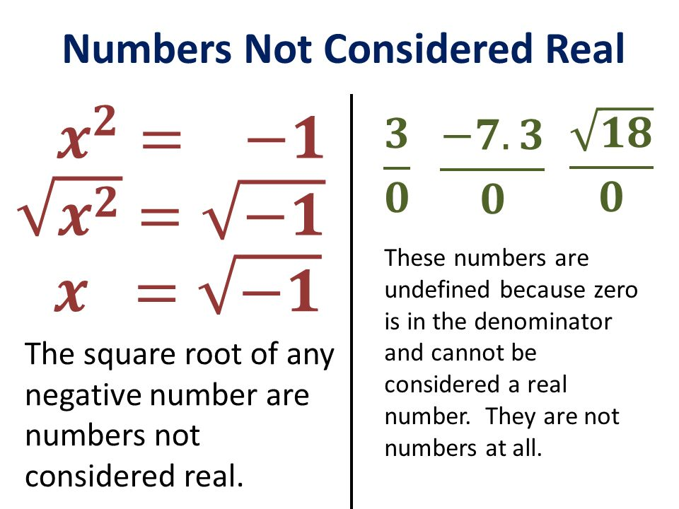 𝒙 𝟐 = −𝟏 𝒙 𝟐 = −𝟏 𝒙 = −𝟏 Numbers Not Considered Real 𝟏𝟖 𝟎 𝟑 𝟎 −𝟕.𝟑 𝟎