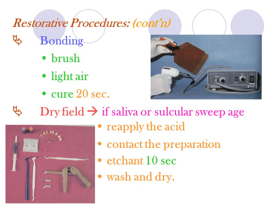 Restorative Procedures: (cont'n)
