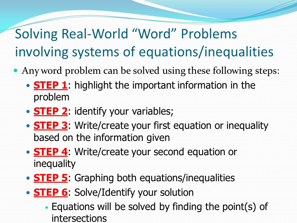 Solving systems of equations and inequalities continued ppt download solving real world word problems involving systems of equationsinequalities ibookread ePUb