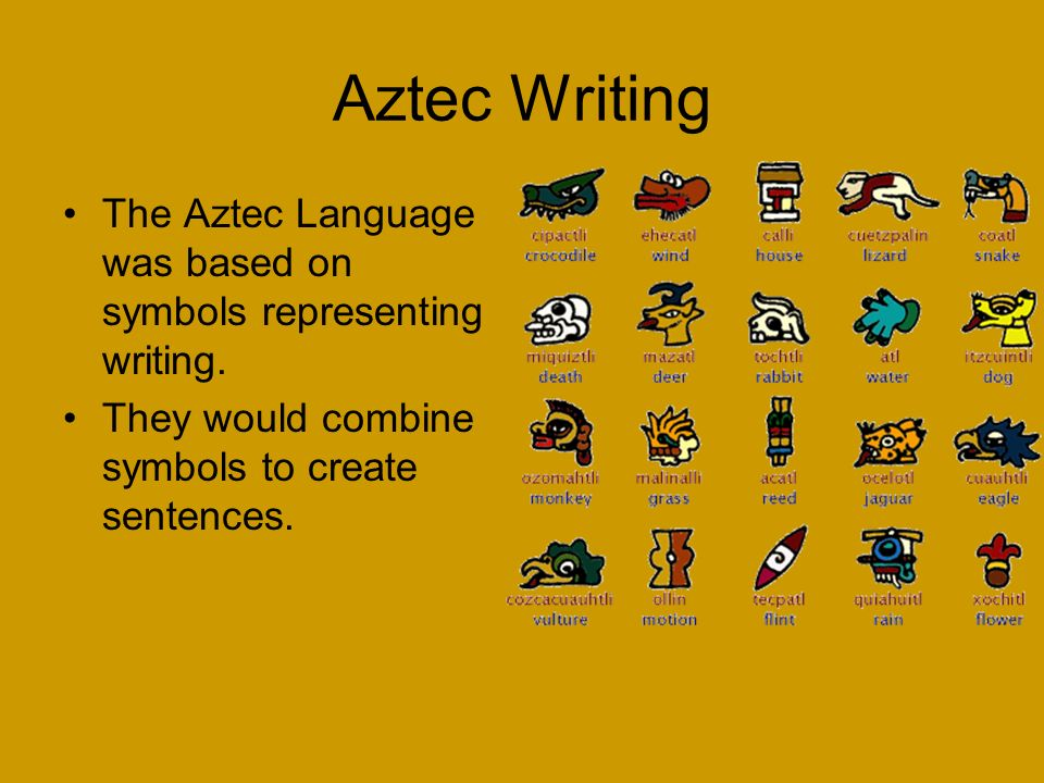 Aztec Writing The Aztec Language was based on symbols representing writing.