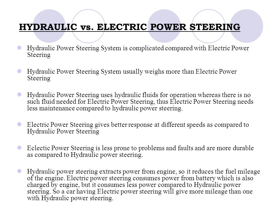 27 Hydraulic Vs Electric Steering