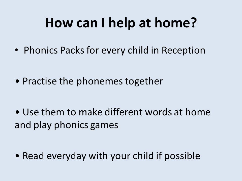 How can I help at home Phonics Packs for every child in Reception