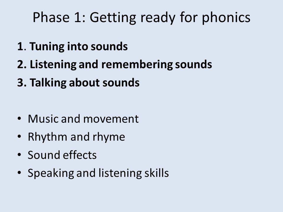 Phase 1: Getting ready for phonics