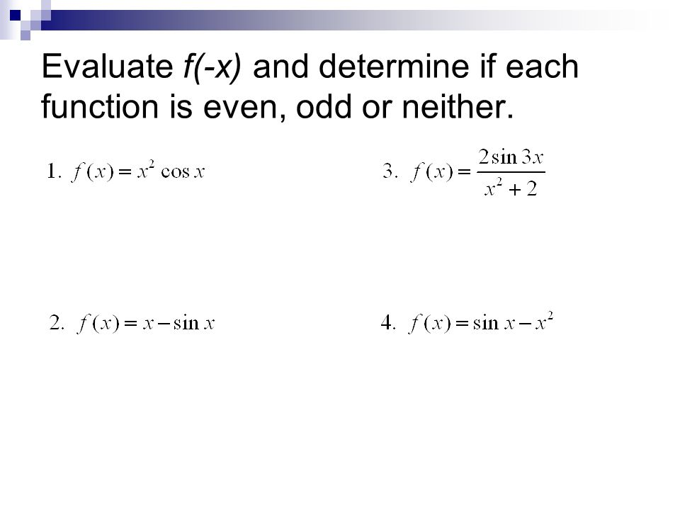 Recall The Definitions Of Even/odd Functions: - Ppt Video Online Download