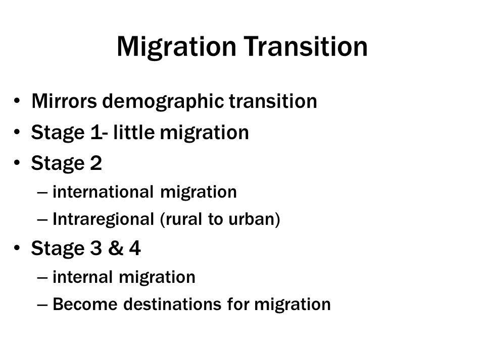 Migration Transition Mirrors demographic transition