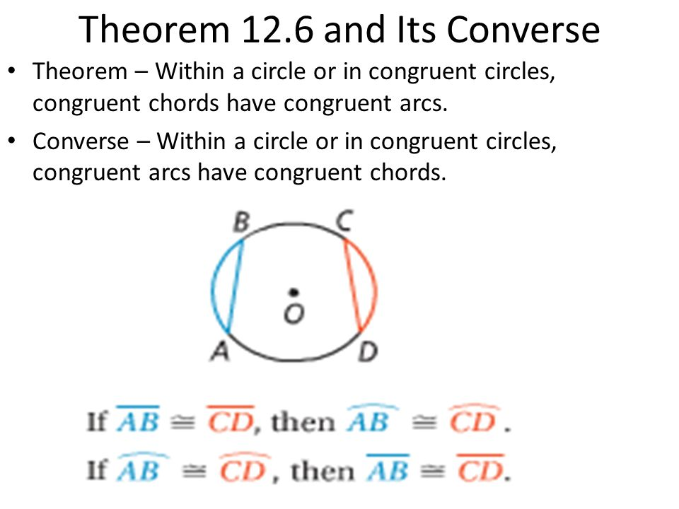 122 Chords And Arcs Theorem 124 And Its Converse Theorem Ppt