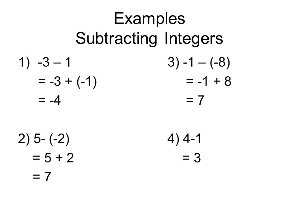 Numbers adding and subtracting integers examples.