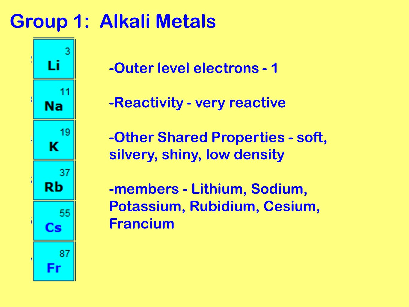 Periodic table grouping elements ppt video online download group 1 alkali metals outer level electrons 1 urtaz Images