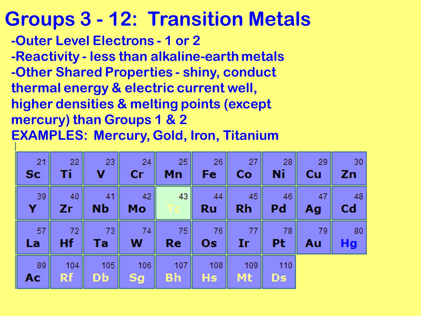 Periodic table grouping elements ppt video online download groups transition metals urtaz Choice Image