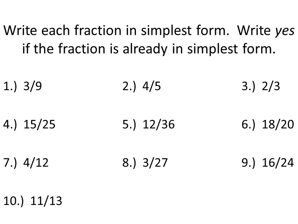 simplest form 3/9  Simplifying Fractions - ppt video online download