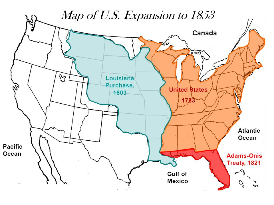 Map Of U.S. Expansion To 1853 Canada Louisiana Purchase, 1803
